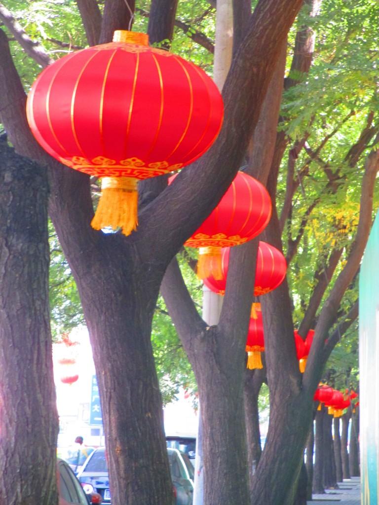 Un viale alberato a Pechino. Le lanterne rosse ondeggiano al vento