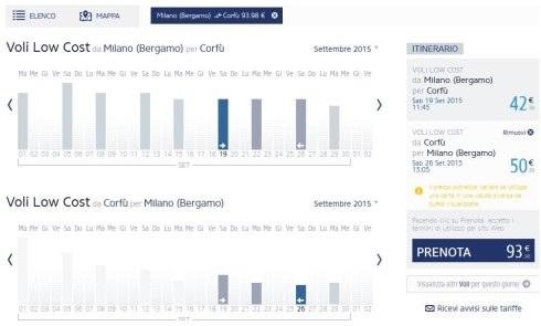 esempio offerta volo economico per Corfu'