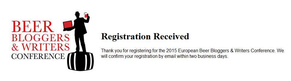La conferma della mia registrazione alla Beer Bloggers and Writers Conference