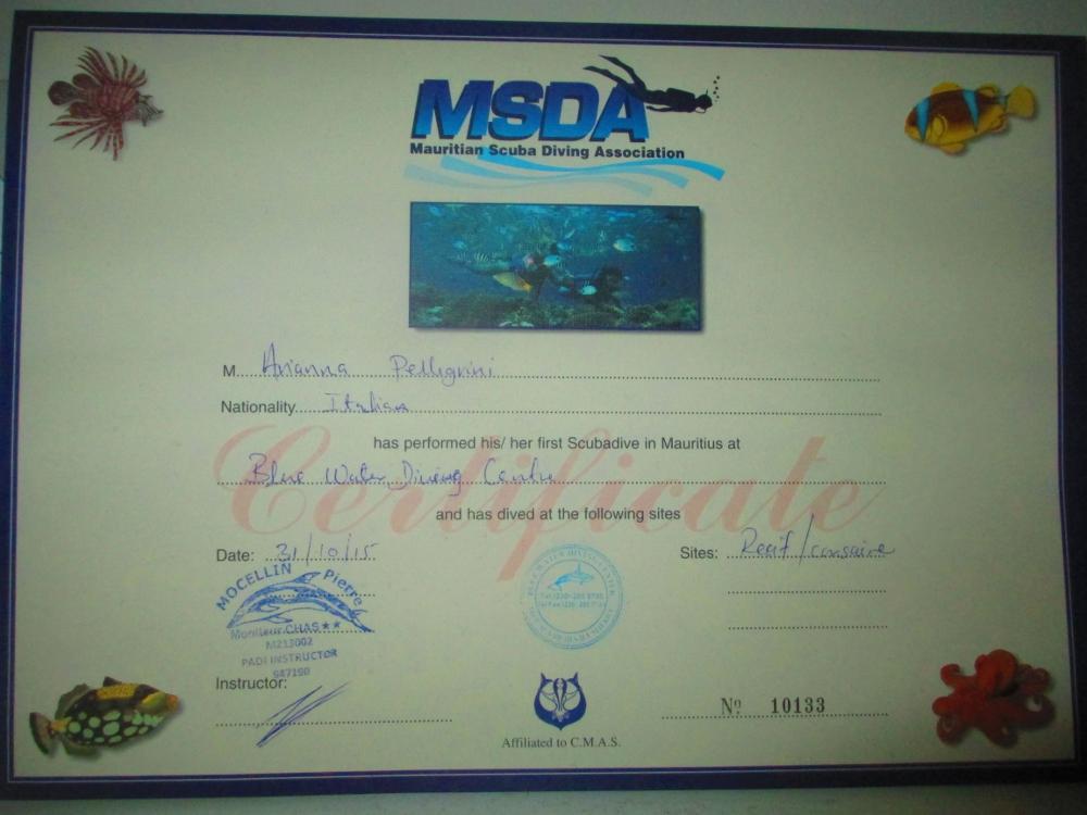 certificato diving