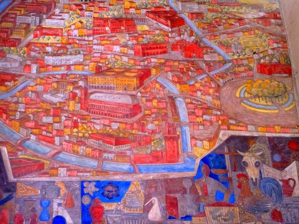 mappa di Padova sulle pareti di Palazzo Bò