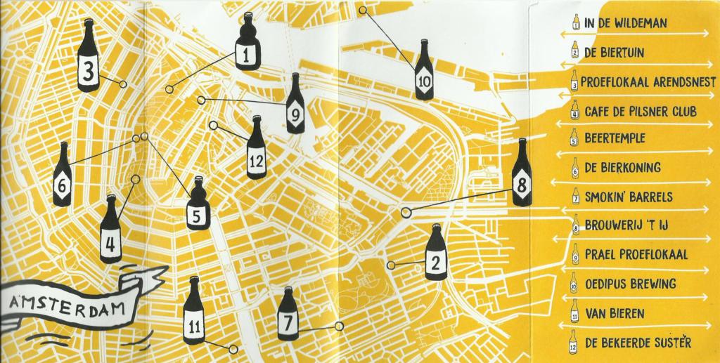 Cartina dei migliori pub di Amsterdam